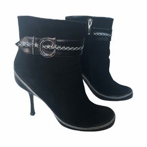 Christian Dior CD Suede Ankle Booties Black 37.5